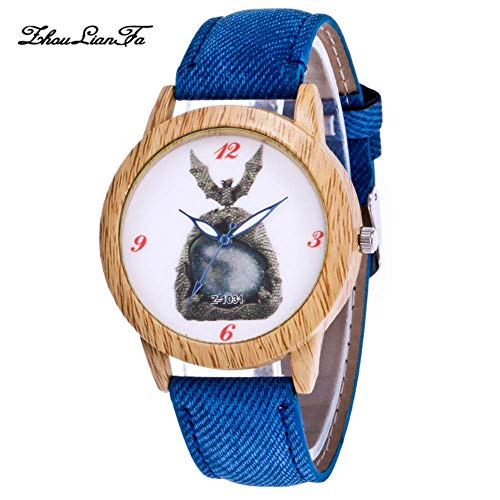Unisex Wrist Watch, Stylish Watch with Denim Watchband and Alloy Case Dial for Gift(Blue) ()