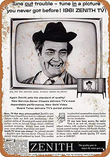 WallDector Red Skelton Zenith Televisions Painting Tin Sign Vintage Wall Decor for Cafe Bar Pub Home Beer Decoration ()