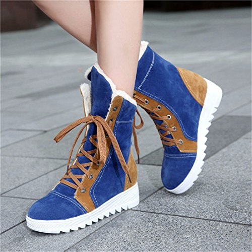Frosted snow boots, warm shoes for students, big size shoes Blue