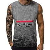 Gergeos Tank Tops Mens Summer Letter Printed Slim Sleeveless Vest Blouse (L, ZH-Gray)