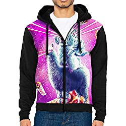 DeReneletrc Men's Workout Full Zip Jackets Hoodie Laser Eyes Space Cat Riding Dog Hooded Sweatshirt Pullover with Pocket