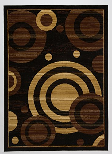 7 Black Area Rug (Antep Rugs Kashan King Collection Geometric Area Rug GALAXY-Black and Beige 5' X 7')