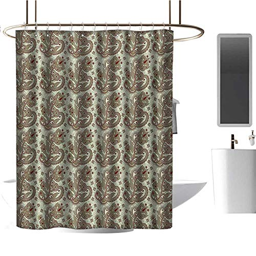 TimBeve Polyester Shower Curtain Ethnic,Persian Middle Eastern Floral Pattern with Traditional Folk Boho Effects,Sepia Eggshell Maroon,Print Polyester Fabric Bathroom Decor Sets with Hooks ()