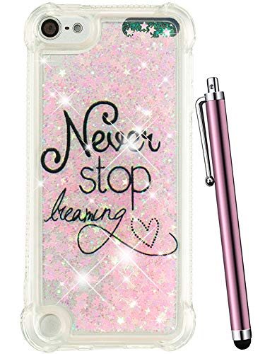 CAIYUNL for iPod Touch 6 Case, iPod Touch 5 Case Glitter, Liquid Sparkle Bling Quicksand Clear TPU Kids Girls Protective Cute Cover for Apple iPod Touch 6th Generation/iPod Touch 5th Gen -Pink Never (5 Camo Touch Ipod)