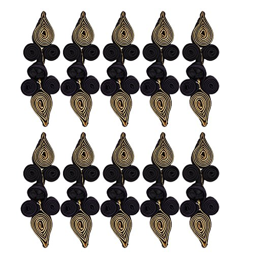 MagiDeal 10 Pairs Chinese Frog Closure Heart Buttons Fasteners DIY Sewing for Cheongsam - Black and Gold