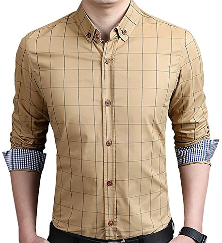 YTD Men's 100% Cotton Long Sleeve Plaid Slim Fit Button Down Dress Shirt US M Khaki