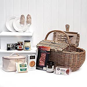 Deluxe Boat Design 2 Person Fitted Picnic Hamper Basket with an Organic Gourmet Food Selection from the Fine Food Store (Includes 8 Items)