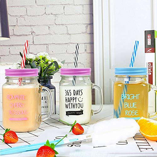 CHICTRY 8 Pieces Mason Jar Lids Colored Polished Stainless Steel Storage Jars Caps with Straw Hole for Canning Ball Drinking Jars 70mm Inner Diameter Blue with Straw Hole ()
