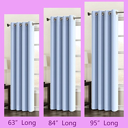 95 inch Long Charming Blue Color Windows Curtains 1 Panel Drapes, Thermal Insulated Solid Grommets Best Blackout Curtains for Bedroom Living Room (Long 95 inch x Wide 52 inch, Light Blue)