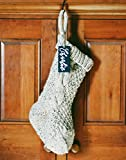 Chunky Hand Knit Christmas Stocking | Oatmeal | Large 24 inch | Personalized Name Plate