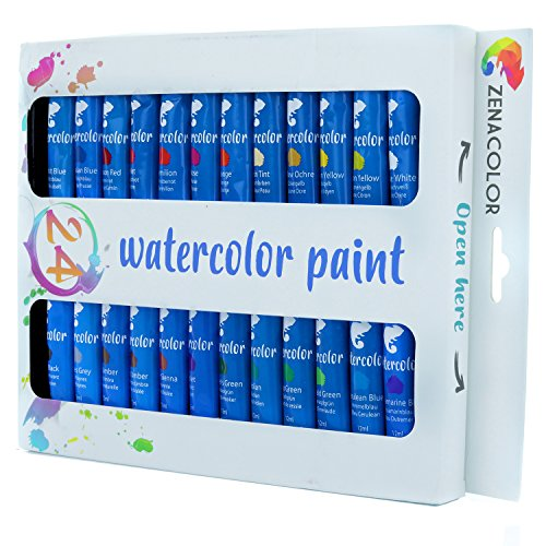 Watercolor Paint, 24 Tube Set by Zenacolor – Pack of 24x12mL, High...
