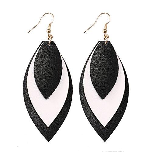 - TIDOO Jewelry Women Three Layers Leather Drop Earring (14# Black+White)