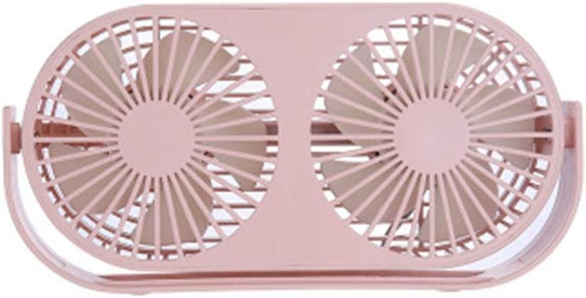 Pink Junlai Electronic Car Fan Double Head Portable 360 Rotation Car Desktop Cooling USB Charging