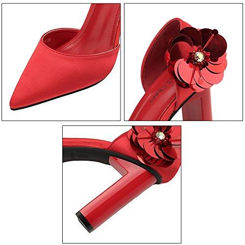 a la mujer mujer las cabeza Flores Europa la de América de Zapatos la mujeres Zapatos boda Zapatos tacón moda con acentuada de Rojo zapatos de gruesas únicas Primavera y verano los de y fina de baja boca AqTfTw