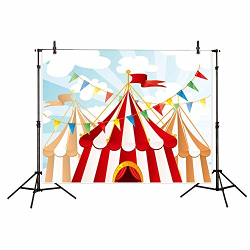 Funnytree Cartoon Circus Party Photography Background Backdrops for Child Baby Shower Banner Photo Studio Props Photobooth Photoshoot