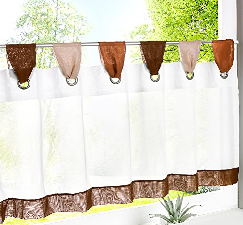LivebyCare Curtain Tier and Valance Tap Top Window Treatment Voile Drape Drapery Panels for Family Room Hotel
