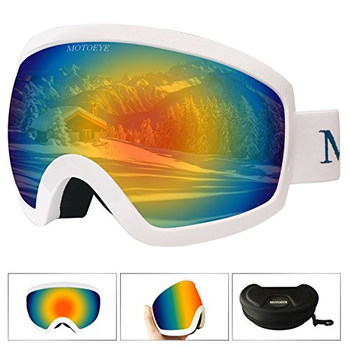 MOTOEYE Ski Goggles - Over Glasses Design Snow / Snowboard Goggle for Men,Women & Youth ( 100% UV Protection + Long-time Anti-fog + Mirrored ) - Ski Goggles Best Polarized