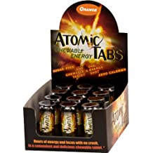 Atomic Tabs Chewable Energy - Orange - 6 Serving Containers (Pack of 12)