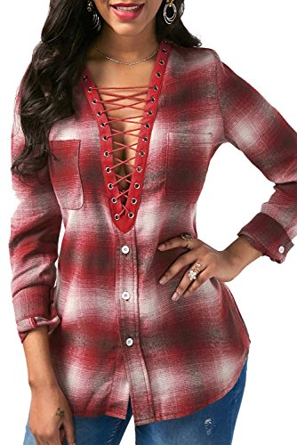 Mystry Zone Womens Sexy Plaid Shirts Deep V Neck Long Sleeve Tops Casual Loose Pocket Button Down Shirts