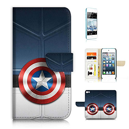 ( For iPod Touch 5 / iTouch 5 ) Wallet Case Cover & Screen Protector Bundle! A9413 Captain America