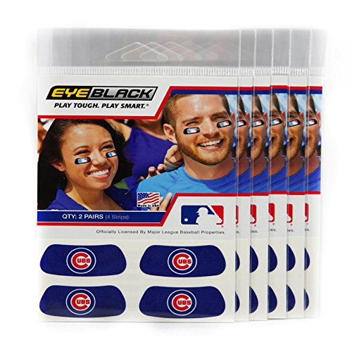(24 Strips) Eye Black - Chicago Cubs Blue MLB Eye Black Anti Glare Strips, Great for Fans & Athletes on Game Day ()