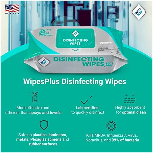 WipesPlus Disinfecting Wipes (320 Total Wipes) - 4 Packs of 80 Industrial Strength Sanitizing Wipes - 80 Disinfectant… |
