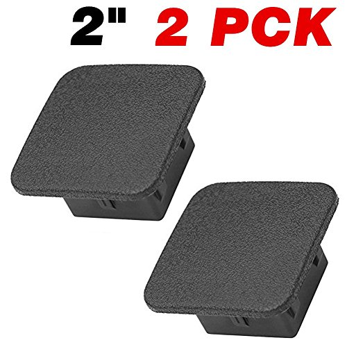 (Trailer Hitch Cover, Size 2 inches Black Receiver Tube Trailer Hitch Plug - Set of 2)