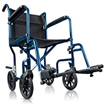 Hugo Portable Transport Chair with Detachable Foot Rest, Midnight Blue