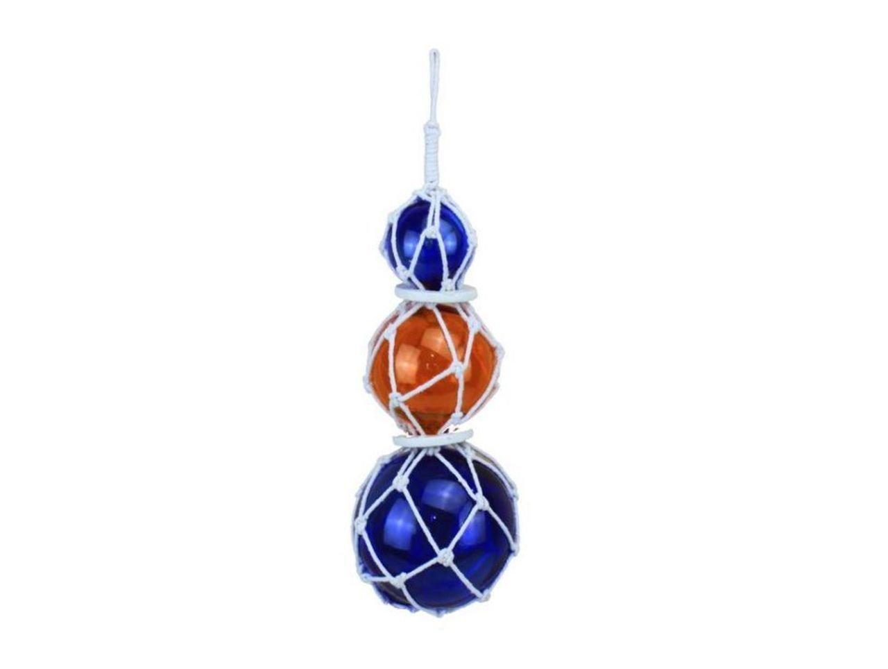 Hampton Nautical 3xglass-101 Orange-Blue Japanese Ball Fishing Floats with White Netting Decoration 11-Glass Buoy