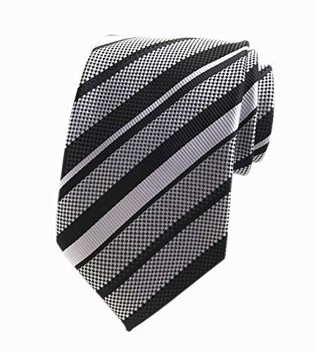 Silk Silver Black Stripe - Men's Stripe Silk Tie Classic Black Silver Grey Jacquard Textured Formal Necktie