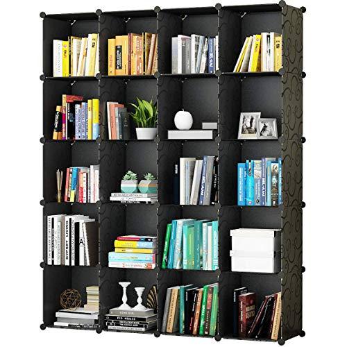 KOUSI Portable Storage Shelf HHSG (Black (No Door), 20 Cubes) (20 Bookshelf)