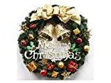 Yunqir Bow-Knot Christmas Wreath Door Hanging Ornaments Room Christmas Tree Pendants for Decoration(Golden)