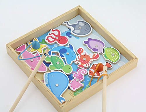 Generic High-grade Wooden Smile Fishing Toy Set Swimming Fish Magnetic Toys with Wooden Storage Box Learning&Educational Puzzle Game for Baby (Storage Box Ocean)
