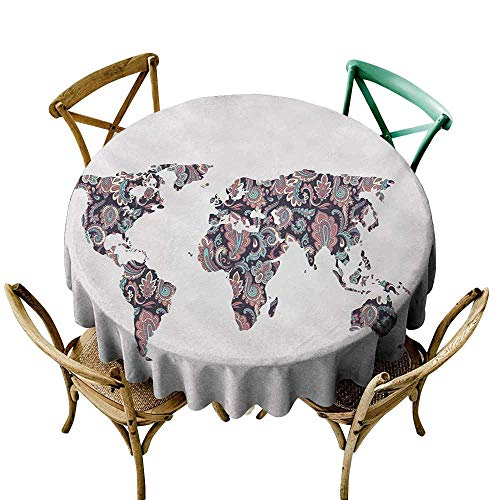 Round Tablecloth Fitted Floral World Map,Paisley Leaves Ornamental Eastern Style Old Fashioned Design,Plum Coral Turquoise D70,for Cards