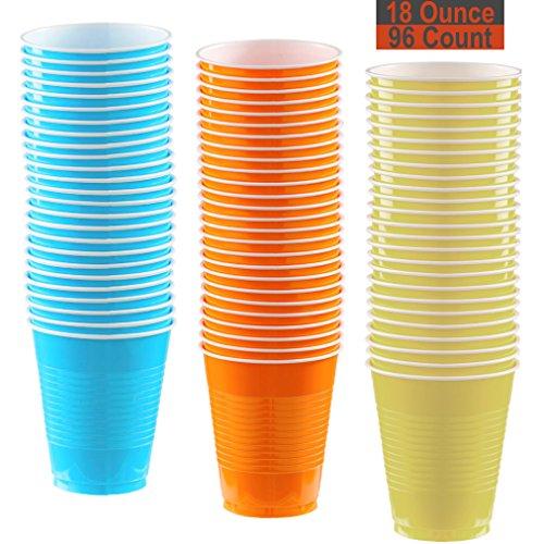 18 oz Party Cups, 96 Count - Aqua, Pumpkin Orange, Light Yellow - 32 Each Color