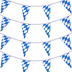 Boao 2 Pieces 10 Meters Bavarian Check Flag Pennant Banner for Oktoberfest Party Decoration
