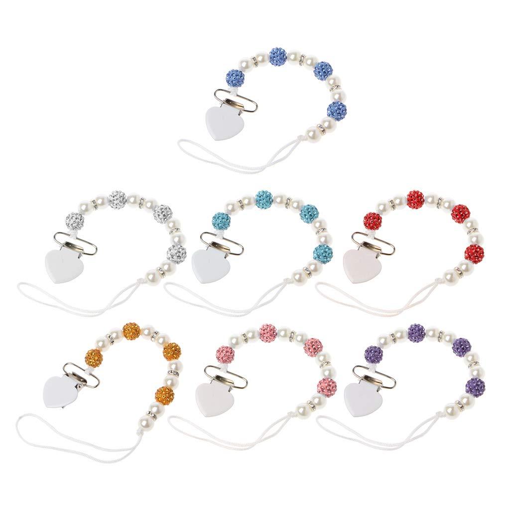 White Kanitry Handmade Bling Crystal Princess Baby Pacifier Chain Chupeta Nipples Dummy Clips