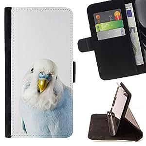 For Samsung Galaxy S4 IV I9500 Case , Loro del bebé Azul Blanco Pájaro tropical- la tarjeta de Crédito Slots PU Funda de cuero Monedero caso cubierta de piel
