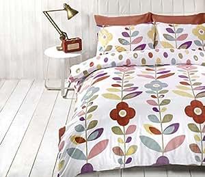 Brillante Floral OVALADO Lunares Rojo Mezcla de algodón doble ( liso gris plateado Sábana bajera - 137 x 191cm + 25) 4 piezas Juego de cama