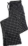 Hanes Mens Plaid Printed Knit Sleep Pajama Pant, Black 39930-Small