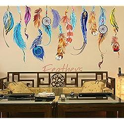 LEERYA Classic Creative Dream Catcher Feather Wall Sticker Art Decal Mural