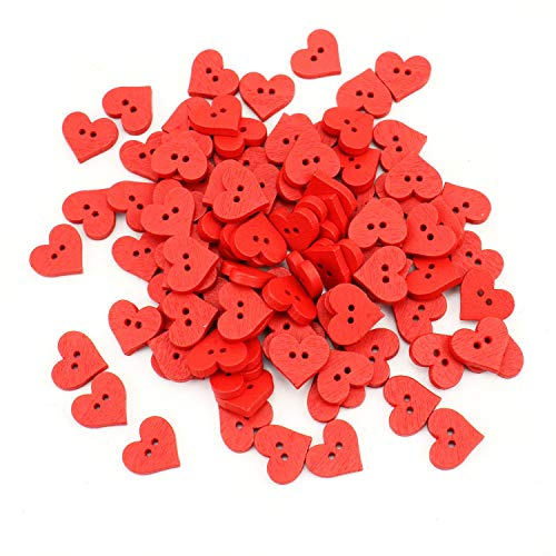 JETEHO 100PCS Red Heart Shaped Wooden Buttons 2 Hole Sewing Button for DIY Scrapbooking Crafting, 15mm, Red