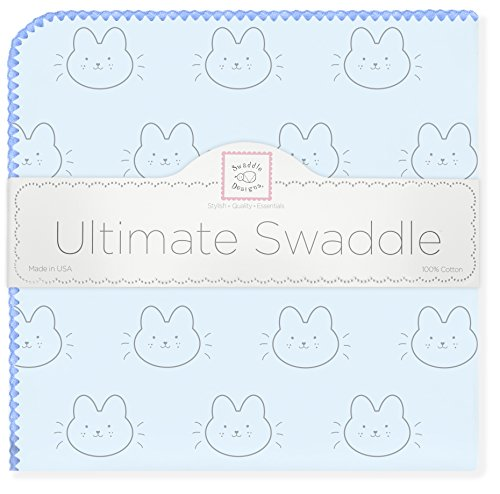 Trim Bunny - SwaddleDesigns Ultimate Swaddle Blanket, Made in USA Premium Cotton Flannel, Bonjour Bunnie with Blue Trim