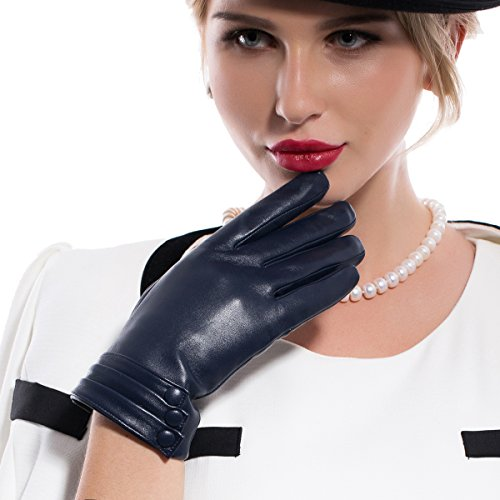 MATSU Fashion Women Winter Warm Leather Gloves 5 Colors M9213- (L, Navy Blue (Long Fleece or Cashmere lining))