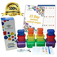Banyan Products-21 Day Portion Control Container Set - Double Sets(14 containers) With Meal Guide / 21 Day Tally Chart And Measuring Tape And E-Book With 21 Recipes