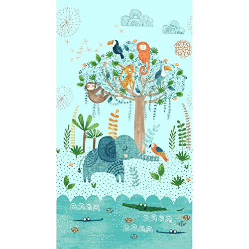 (Jungle Fever Animals Panel 24 x 44 Children Cotton Fabric by Clothworks)