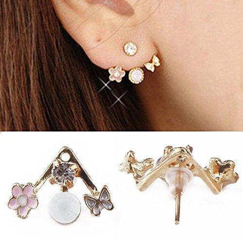 Ownsig 1Pair Lady Crystal Flower Rhinestone Earrings Front anf Back Ear Stud
