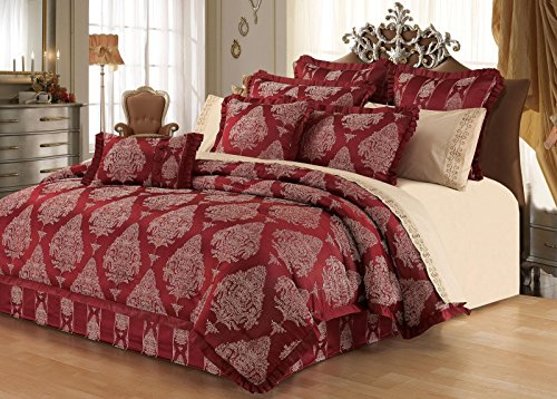 Cassandra Comforter Set - New Season Home Cassandra Comforter Set, Queen, Red/Beige, 6 Piece