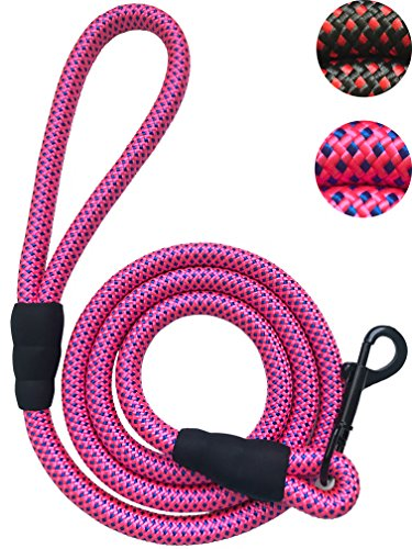 PetsCare Dog Leash Rope Leash - 3/8 Inch Thick 6 Feet Long - Quality Thick Nylon Rope - Soft Handle and Light Weight Pet Training Lead - for Small Medium Large Dogs (3/8 X 6, Pink)