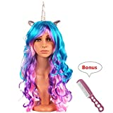 Unicorn Horn Wig Headband Hairpiece with Ears Long Curly Wigs for Halloween Cosplay Party ( Silver Horn)